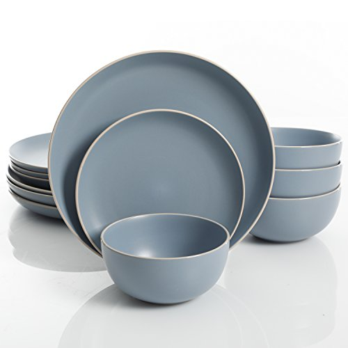 Gibson Home 114389.12RM Rockaway 12-Piece Dinnerware Set Service for 4, Blue Matte