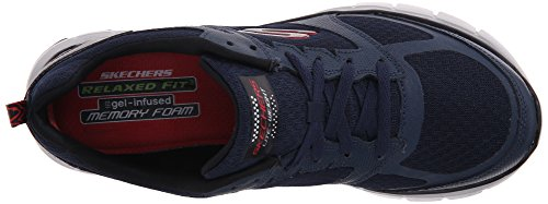 Skechers Sport Mens Skech-Flex Power Alley Oxford, Navy/Red, 10.5 M US Navy/Red