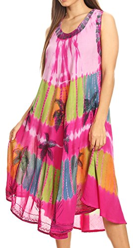 Cover Dress Palm Tree Tie Sakkas Up Pink Dye Caftan nC1fwCxqY