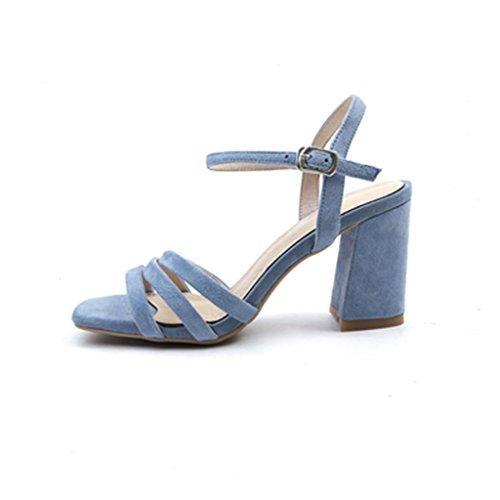 Blue zapatos con altos Blue cuero Roma de alto tacón áspera Sandalias 36 Color tacones QINGTAOSHOP de Sra palabra verano de de Size xqFvzU