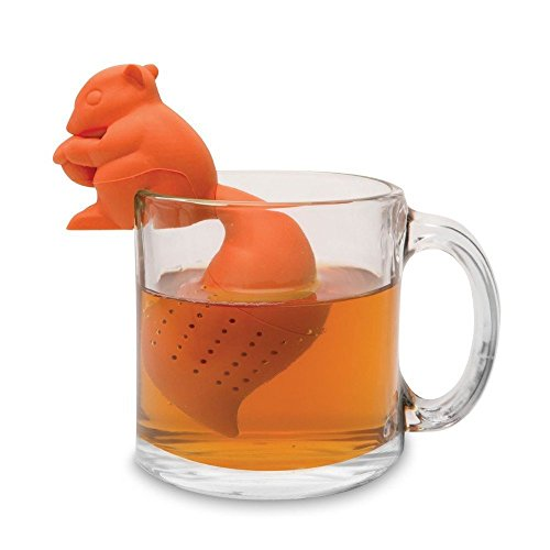 HUAL Silicone Strainer Loose Leaf Tea Infuser Diffuser Strainer Tea Strainers Drip Tray (Orange Squirrel)