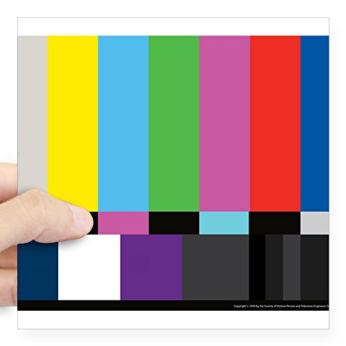 CafePress SMPTE Standard Definition Television Color Bars EG Square Bumper Sticker Car Decal, 3