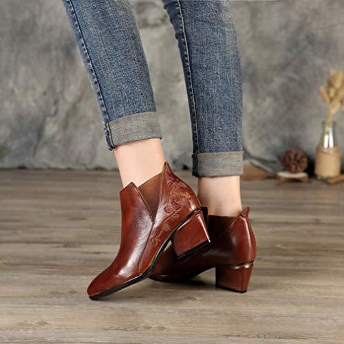 Puntiagudo Tacón Botines Elegantes Para Botas Y Fiesta Moda Noche Yan Un Zapatos De Invierno Mujer Piel Fpv1WSxn