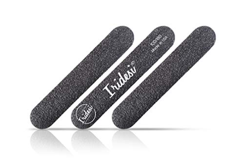 Iridesi Mini Nail Files Black 3.5 Inches Long 5/8 Inch Wide Emery Boards 100 180 Grit 12 Fingernail Filers Per Pack