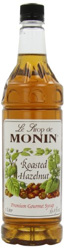 (Monin Flavored Syrup, Roasted Hazelnut, 33.8-Ounce Plastic Bottles (Pack of 4))