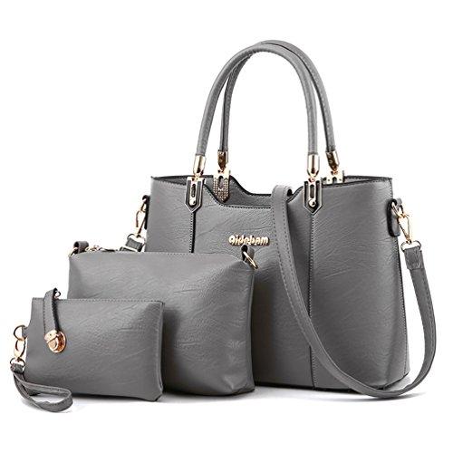 Bag 3 Pu Grey Purse Large Set Capacity Tote Bag Shoulder Crossbody Leather Women's Weave Pieces XMLZG Handbag 3 1R8q5aw