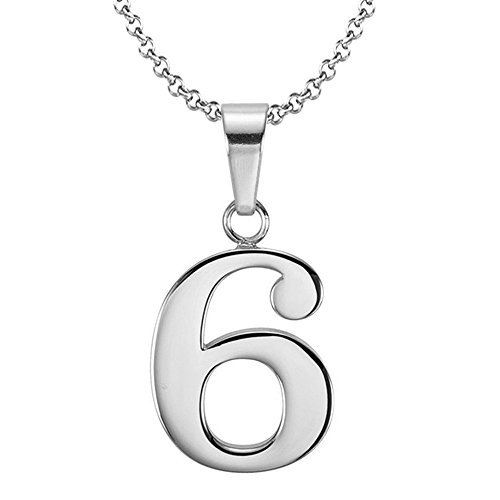 (925 Sterling Silver Number 6 Charms Pendant Necklace with Chain (Six))
