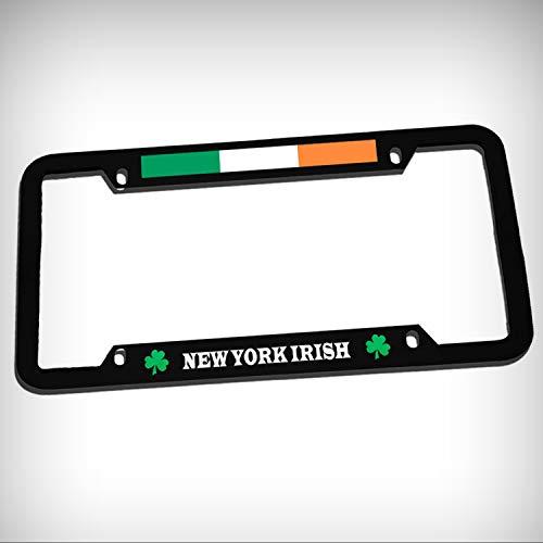 (New York Irish Zinc Metal Tag Holder Car Auto License Plate Frame Decorative Border - Black Sign for Home Garage Office Decor )