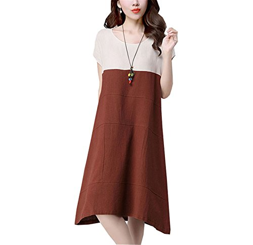SDHEIJKY Short Sleeve Women Dress Casual Loose Patchwork O-Neck Cotton Linen Dress ()