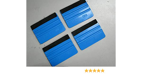 Blue PP Scraper Boddenly 2PCS Felt Edge Squeegee 4 Inch for Car Vinyl Scraper Decal Applicator Tool with Black Fabric Felt Edge Durable Felt Edge Squeegee 4 Inch for Car Vinyl Film
