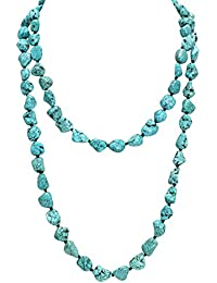Turquoise Beads Endless Necklace Long Knotted Stone Multi-Strand Layer Necklaces  Handmade Jewelry 0048b0d57260