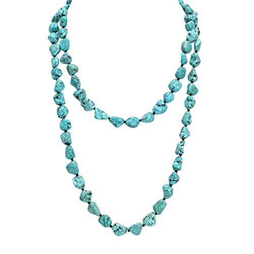 POTESSA Turquoise Beads Endless Necklace Long Knotted Stone Multi-Strand Layer Necklaces Handmade Jewelry 47'' - Necklace Bead Wrap Turquoise