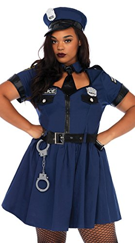 Leg Avenue Women's Plus Size Sexy Police Officer Costume, Blue -