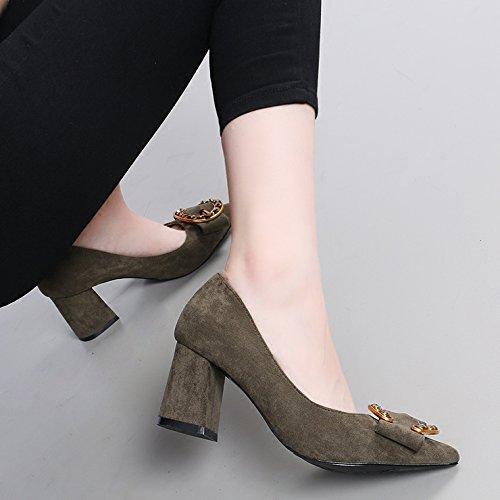 KHSKX-Nueva Caida Todo El Partido Ante Un Mal Sentido De La Hembra Documental Zapatos Rhinestone Hebillas Zapatos De Tacon Alto Asakuchi - 6.5Cm Military green