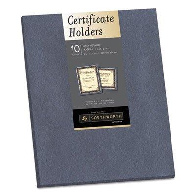 Southworth 98869 Certificate Holder, Gray, 105lb Linen Stock, 12 x 9 1/2, 10/Pack ()