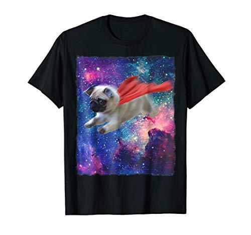 Pug Shirt Space Galaxy Red Cape Super Dog T Shirt Cosmos Tee