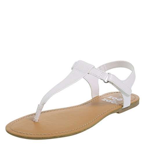 Price comparison product image Zoe and Zac Girl's White Glitter Quinn Sandal Big Kid Size 5 Regular