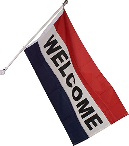 Horizontal Nylon Message Flag, 62 x 35-1/2-Inch, Reads WELCOME, Includes Flag Pole And Bracket (Horizontal Message Flag)