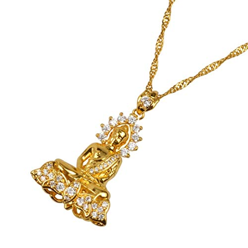DOZOGU Cambodian Style Garden Buddha Buddhism Pendant Necklaces for Women with Cubic Zirconia Jewelry Gifts