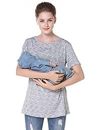 Breastfeeding Shirt Striped Patchwork Short Sleeve Maternity Breastfeeding and Nursing Tops (L, Gray Stripes)