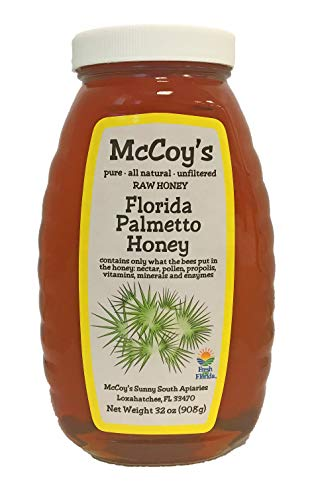 Raw Honey - Pure All Natural Unfiltered & Unpasteurized - McCoy's Honey Florida Palmetto Honey Jar 32oz ()