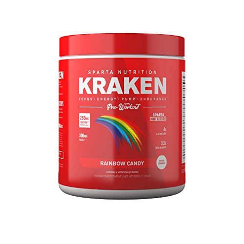 (All New Kraken Pre-Workout Powder: Best High-Stimulant Pre-Workout Supplement for Men and Women, Nitric Oxide Booster and Energy Nootropic Drink for Focus and Muscle Pumps, Rainbow Candy, 40 Servings)