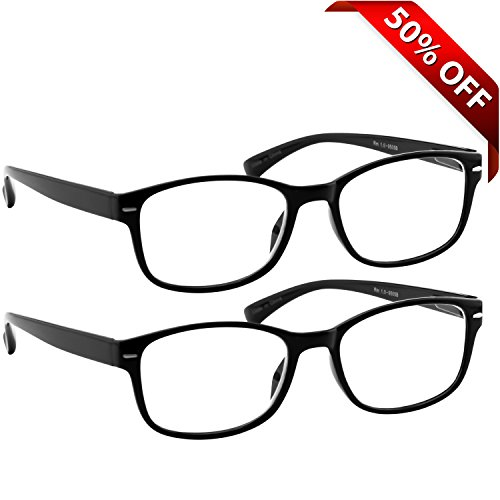 Reading Glasses 2 Pack Black _ Always Have a Timeless Look, Crystal Clear Vision, Comfort Fit With Sure-Flex Spring Hinge Arms & Dura-Tight Screws _ 100% Guarantee - Wide Face Reading Glasses