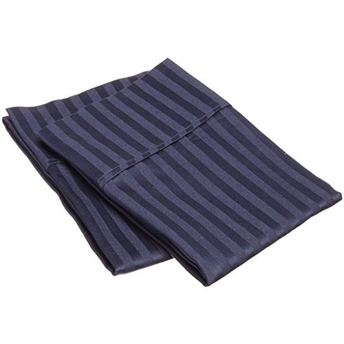 - Superior Combed Cotton 300 Thread Count Pillowcase Pair Stripe, Navy Blue, King