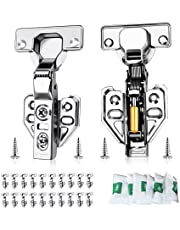20 Pack Soft Close Cabinet Hinge,90°-110° Cabinet Hinges,Full Overlay Hydraulic Heavy Duty Adjustable Hinge,Stainless Concealed Hinges with Mounting Screws for Cabinets Door