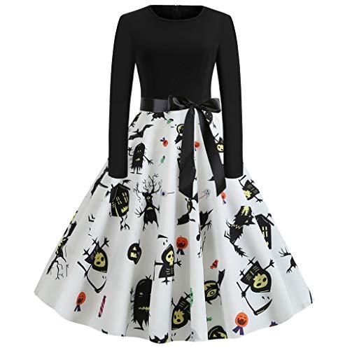 KLFGJ New Gothic Halloween Vintage Party Dress Lady Women Dresses Print Elegant Round Neck ()