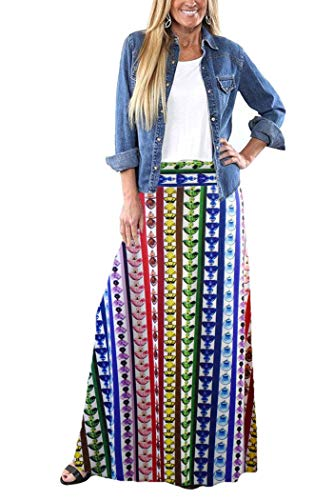 Yinggeli Women's Bohemian Print Long Maxi Skirt (P-Flower, Small)