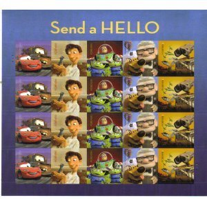 Send a Hello Pixar Films Sheet of 20 Forever Stamps Scott 4553-57 By USPS
