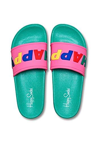 Happy Socks Badelatschen Happy SDT114-7000 Grün Pink, Schuhgröße:36