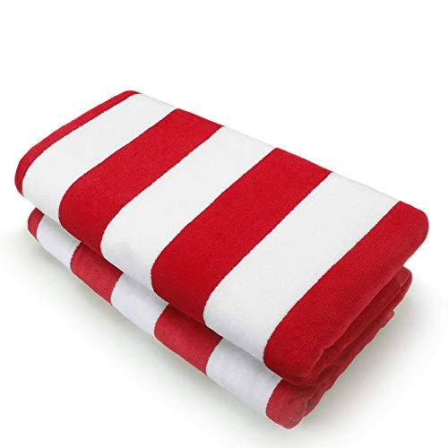 Kaufman - 32in x 62in Velour - Joey Cabana Stripe Towel Set (2, RED) -
