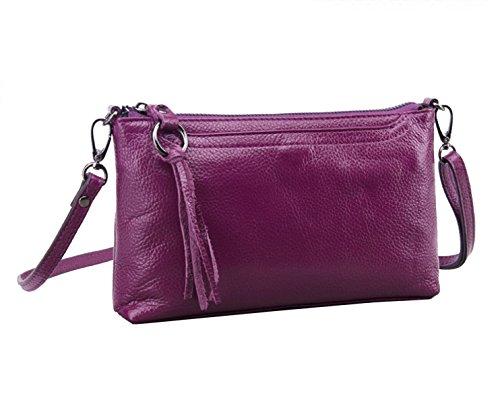 Yy.f La Moda Primera Capa De La Bolsa De Cuero Bolso De Hombro Del Ms La Bolsa De Mensajero El Embrague De Cuero De Las Mujeres Las Bolsas De Color Sólido Multicolor Purple