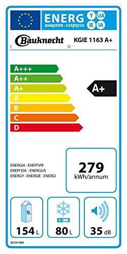 Bauknecht KGIE 1163 Kühl-Gefrier-Kombination / A+ / 157,6 cm Höhe / 279 kWh/Jahr / 154L Kühlteil / 80L Gefrierteil / Flüsterleise mit nur 35 dB / Nische 158 cm / weiß
