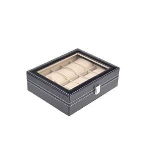 Neewer 10 Grid Watches Jewelry Display Storage Box Case PU Leather Black
