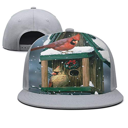 Men Women Baseball Cap Winter Bird Birdhouse Snowflake Adjustable Dad Hat