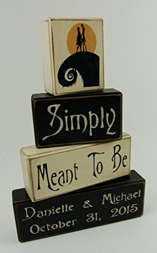 Jack And Sally Wedding (Jack and Sally Simply Meant To Be Personalized Name and Wedding Date - Primitive Wood Sign Stacking Blocks -Anniversary-Wedding-Bridal Shower-Birthday Home)