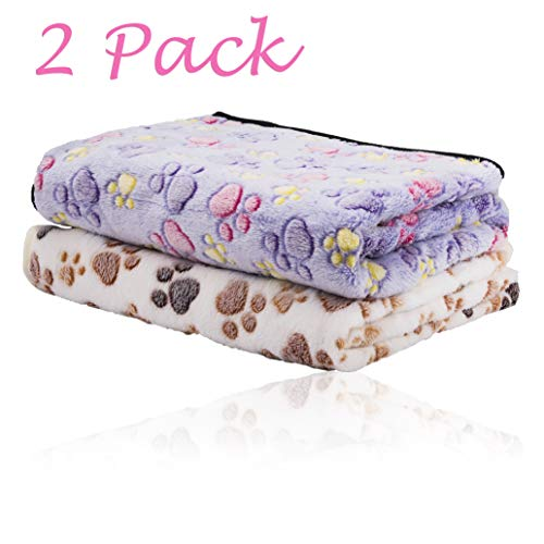 iNNEXT 2 Pack Puppy Blanket for Pet Cushion Small Dog Cat Bed Soft Warm Sleep Mat, Pet Dog Cat Puppy Kitten Soft Blanket Doggy Warm Bed Mat Paw Print