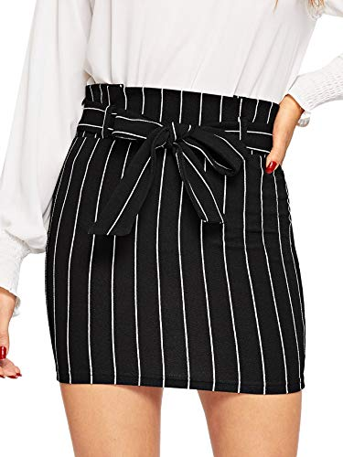 (SheIn Women's Striped Belted High Waist Above Knee Bodycon Short Mini Skirt Black L)