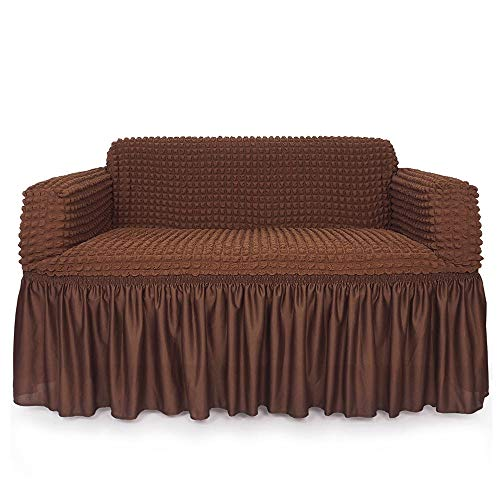 NICEEC 1-Piece Stretchable Easy Fit Sofa Cover Durable Furniture Slipcover in Country Style Made of Machine Machine Washable and Quick-Drying Fabric for 2seat Sofa and Couch(Loveseat,Chocolate Brown)