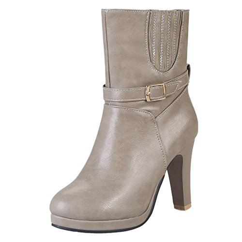 On COOLCEPT Women Boots Heels Pull Gray nrIWFqrdO