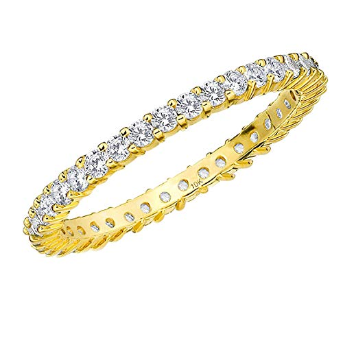 .50CT Passion Eternity Diamond Ring in 10K Yellow Gold Shared Prong Setting - Finger Size 8