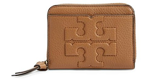 TORY BURCH Bombe T Leather Zip Coin Case Wallet (Bark) (Keychain Tory Burch)