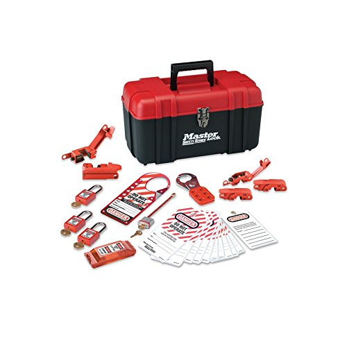 Master Lock Lockout Tagout Kit, Electrical Lockout Kit with Thermoplastic Safety Padlocks, 145E410KA
