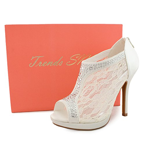 Toe Women's Platform High Bridal Trends Heel SNJ Lace Black Shootie Peep 8waBWq