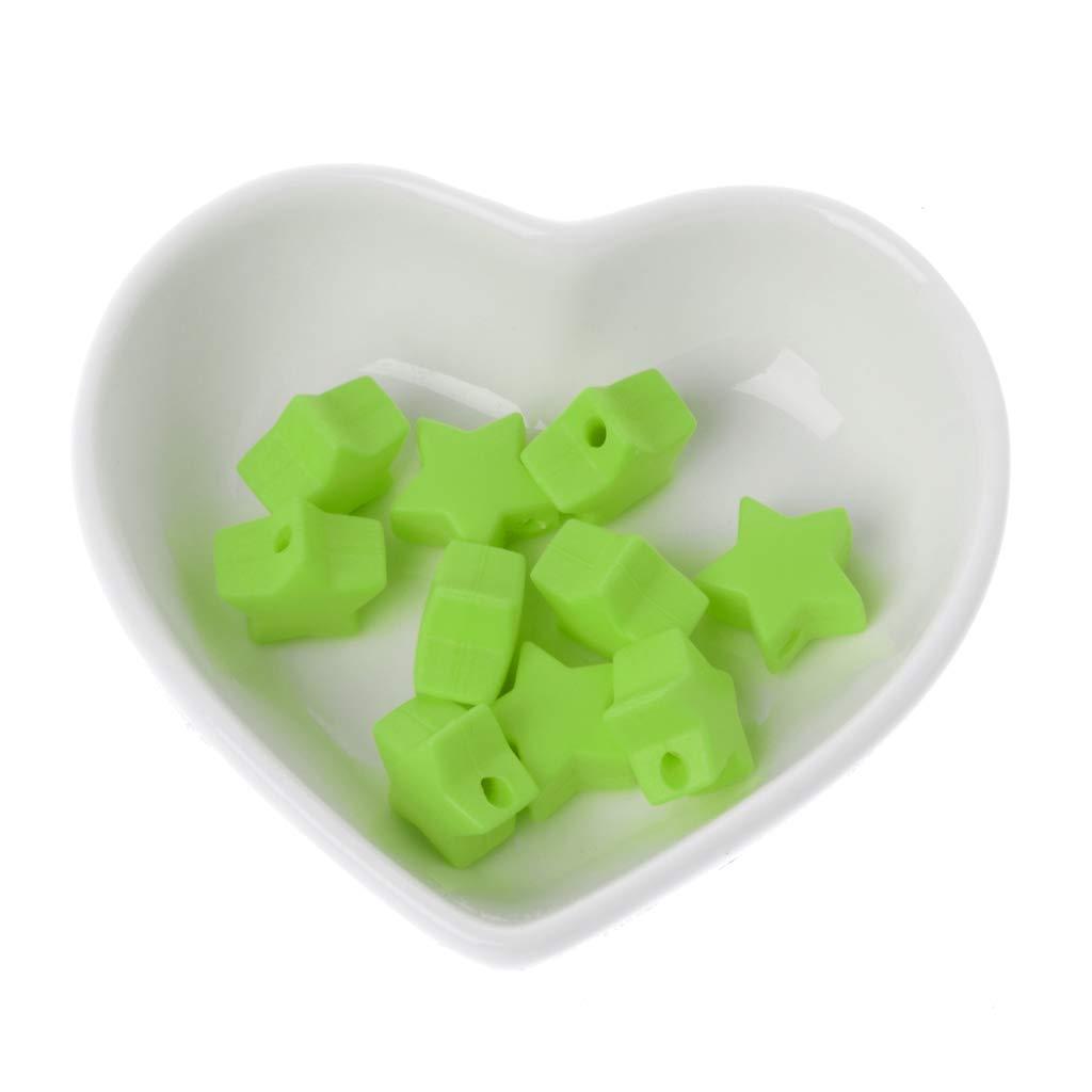 Jiamins 10 Stück 15mm Stern Silikon Perlen - Baby Schnullerketten Beißring Kauspielzeug DIY, Lebensmittelqualität Silikon,14 Farben (Gelb)