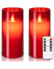 5plots Flickering Flameless Candles, Battery Operated Acrylic LED Pillar Candles with Remote Control and Timer