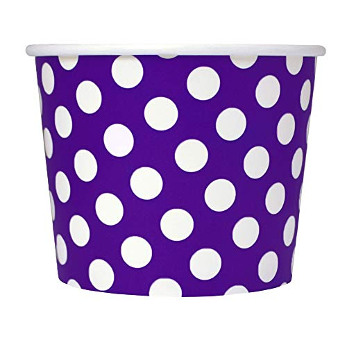Purple Easter Paper Dessert Cups - 12 oz Polka Dotty Ice Cream Bowls - Perfect For Your Yummy Foods! Many Colors & Sizes - Frozen Dessert Supplies - Fast Shipping! 100 Count ()